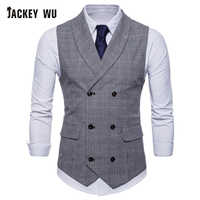 JACKEYWU marque Gilet hommes angleterre Style petit Plaid Double boutonnage Gilet affaires Social formel robe costume Gilet de mariage gris