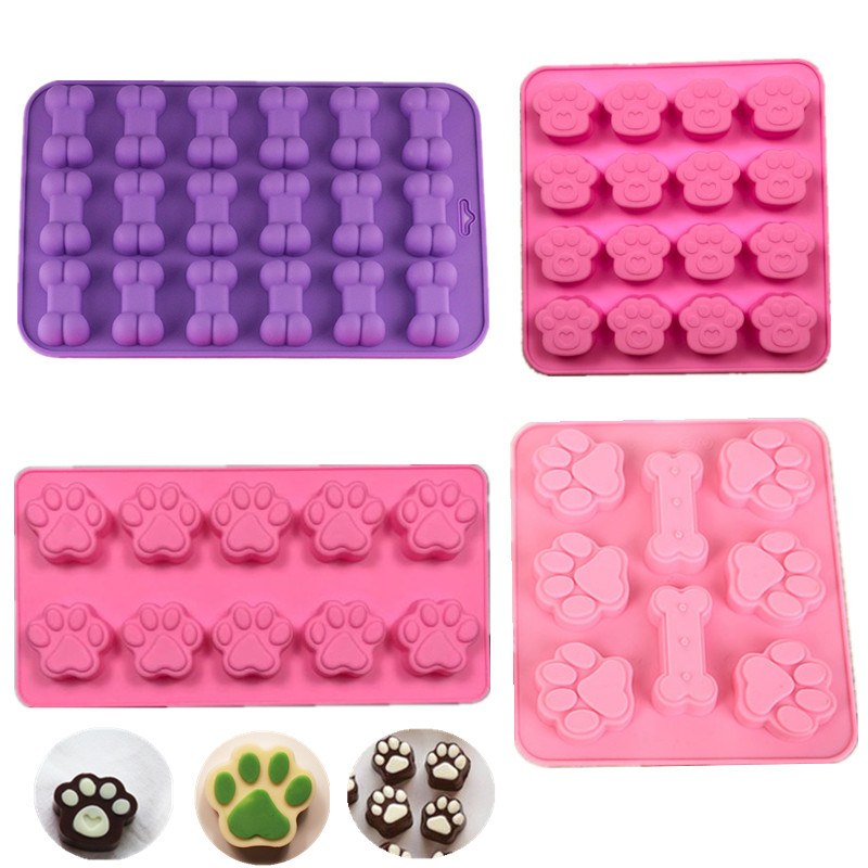 Lovely Dog Bone Silicone Mold For Baking Chocolate Candy Fondant Confectionery Cat Paw Soap Pastry Moulds Cake Decorating Tools