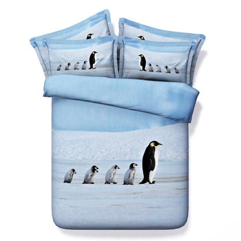 3d Cute Penguin Pattern Bedding Sets 3/4PC Duvet Cover Bed Sheet Pillowcase Kids/Adult Twin/King/Queen/Super King Size For Gift
