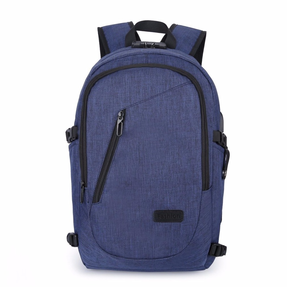 e750aa7ad4e Backpack Waterproof Coded Lock Antitheft Bag USB Charge Slot Large Capacity  Travel Shoulder Bag Laptop Notebook Earphone Glasses