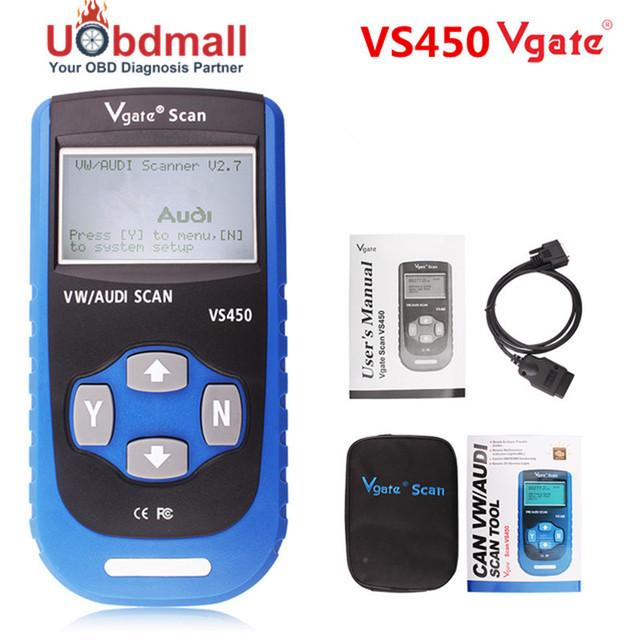 Vgate VS450 VAG Escaner Automotriz Scaner Para VW Volkswagen Audi Motor, ABS, Airbag, transmisión, Radio, Control de temperatura (A/C)