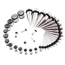 Tiantifbyjs 14g-00g 36/18 peças, kit de medidores de orelha, tapetes e tampões para cílios tampões expansor conjunto piercing do corpo