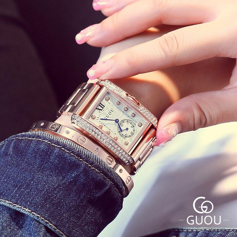 ФОТО Luxury GUOU Rose Gold Rectangle Roman Dial Crystal Rhinestone Bracelet Quartz Wrist Watch Women Girls Wristwatches 8121