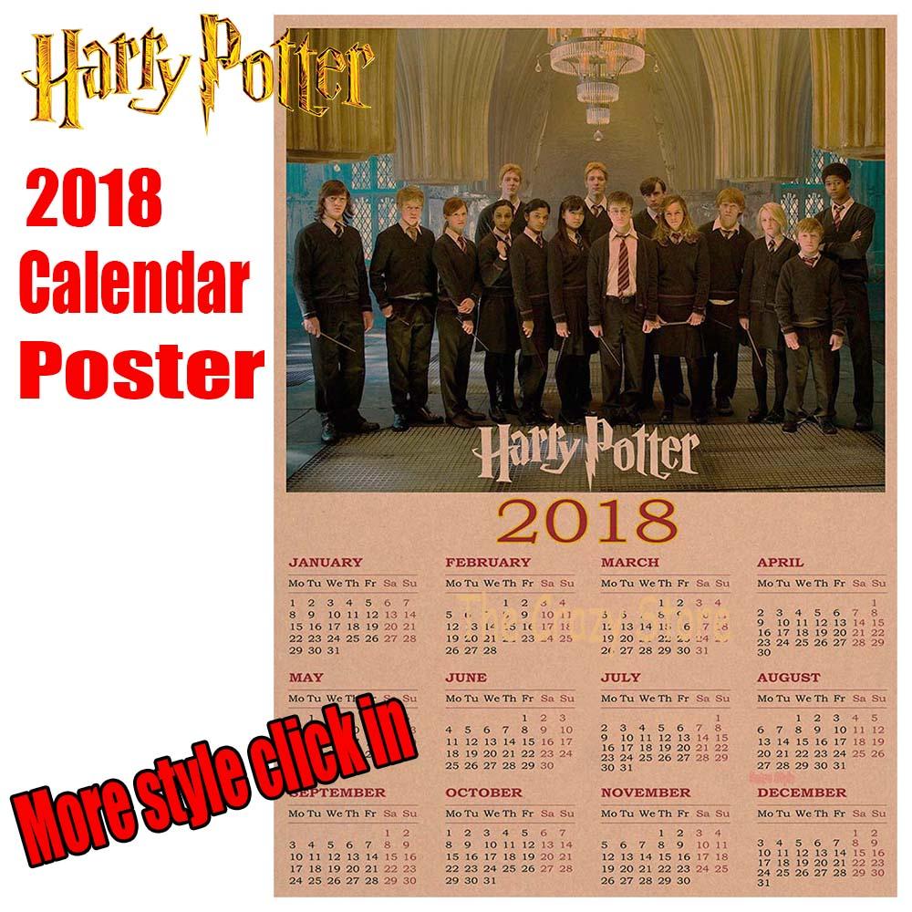 Harry potter 2017 calendar poster Vintage Antique Posters Wall Sticker Home Decora