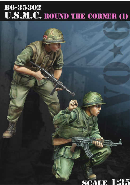 1:35 United States Marine Corps WWII 2 Figures Resin Model Soldier GK