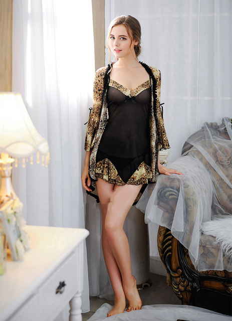 Pijama perspectiva Leopardo Chiffon Sexy Ladies Mulheres Sexy Lingerie Pijamas Leopard Babydoll Pijamas Robe Vestido G-string