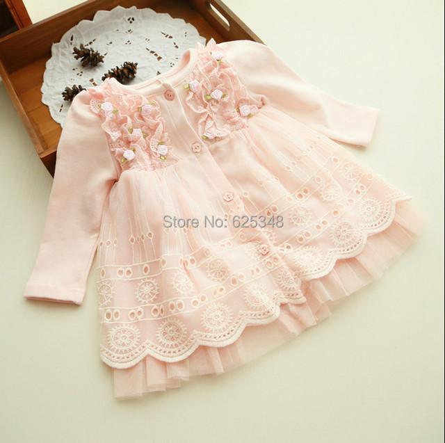 2017 primavera e no outono 0-2 anos roupas de bebê floral lace linda princesa tutu dress vestidos infantis do bebê recém-nascido vestido infantil