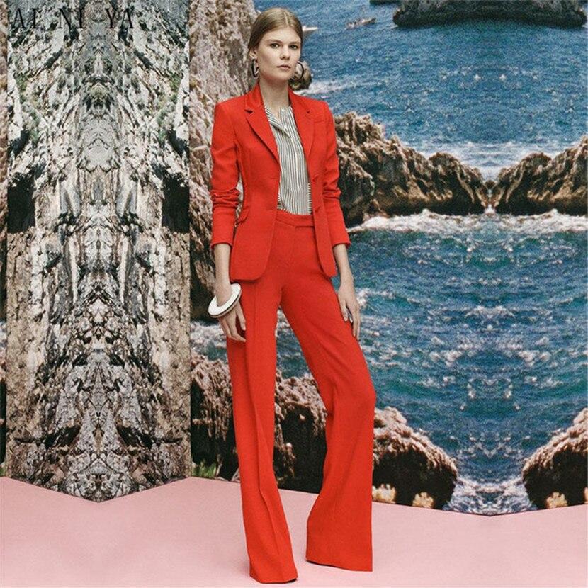 Uniforme Dames Bureau Smoking picture Picture Formelle Rouge Personnalisé Femme pict Style D'affaires Costumes Femmes Cloche Nouveau Combinaison Fond Pantalon Style De À qw048