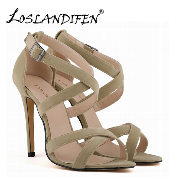 103b046b4a LOSLANDIFEN Új divat Női szandálok Faux bársony cipő Nyitott toe ...