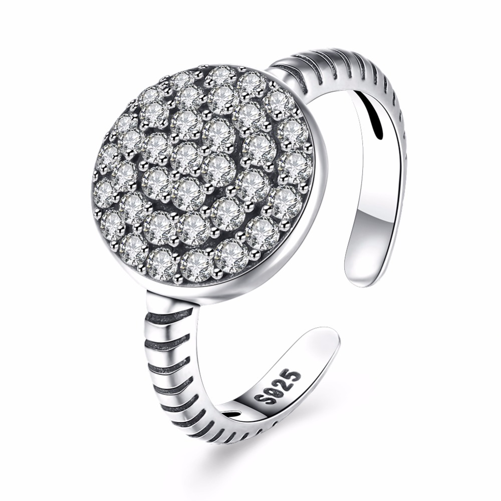 Luxury Pave Cubic Zirconia Big Wedding Ring Real 925 Sterling Silver Ring  For Women Round Open