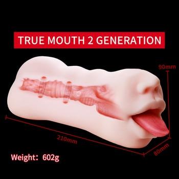 OMYSKY Realistic Male Masturbator Aritificial Vagina Pocket Deep Throat With Tongue Suck Realistic Pussy Oral Sex Toys for Men 6