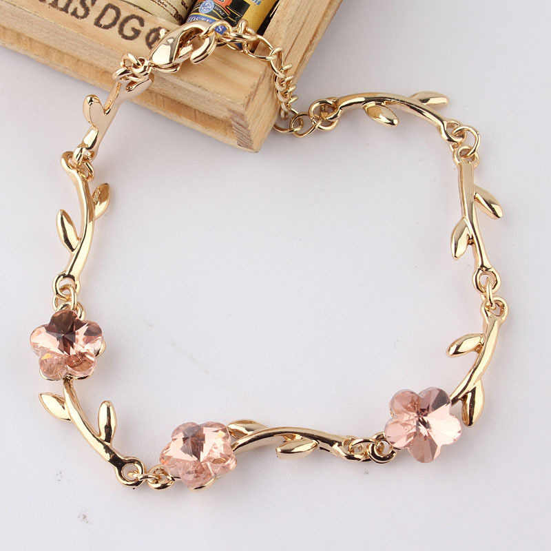New Hot  Sell 230mm Fashion Gold Color Charm Pink Crystal Bracelets For Women Flower Beads Bracelets & Bangles DIY Jewelry