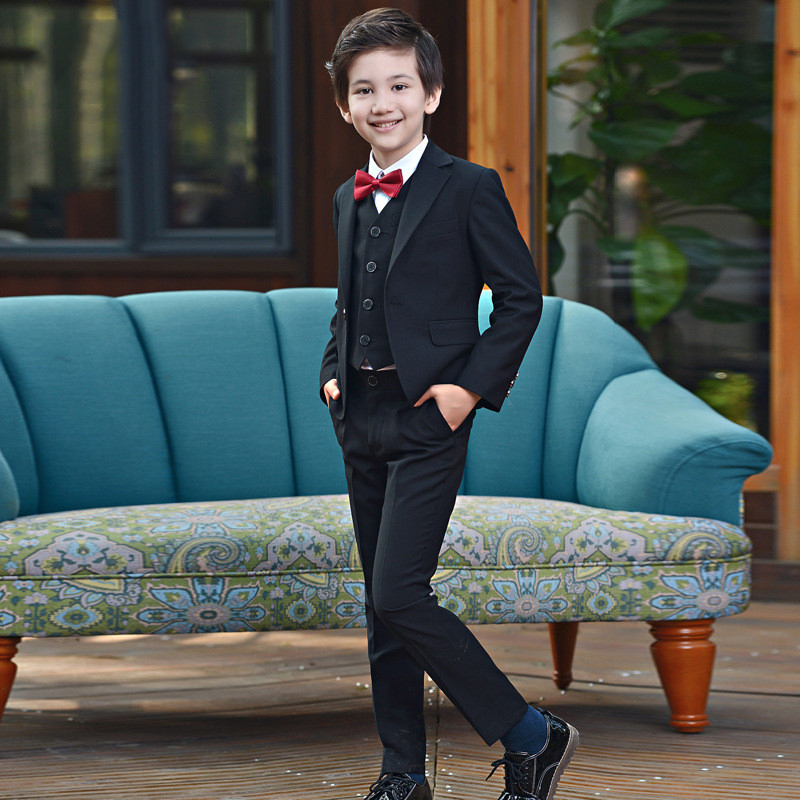 2018 New style Suit Western Pants Bow Tie Shirts Black Small suit suit flower Boy coat host boy dress big boy baby boy suit