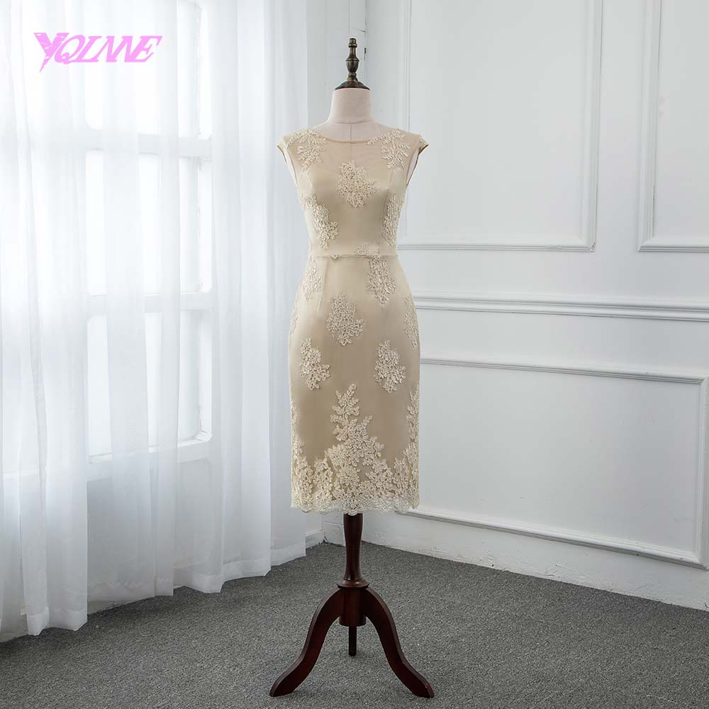 YQLANNE Champagne Lace   Cocktail     Dresses   Sleeveless Formal Women   Dress