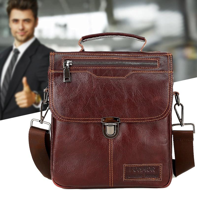 Simple Fashion Men Genuine Leather Vintage Buckle Shoulder Bag Satchel Crossbody Bag FC55
