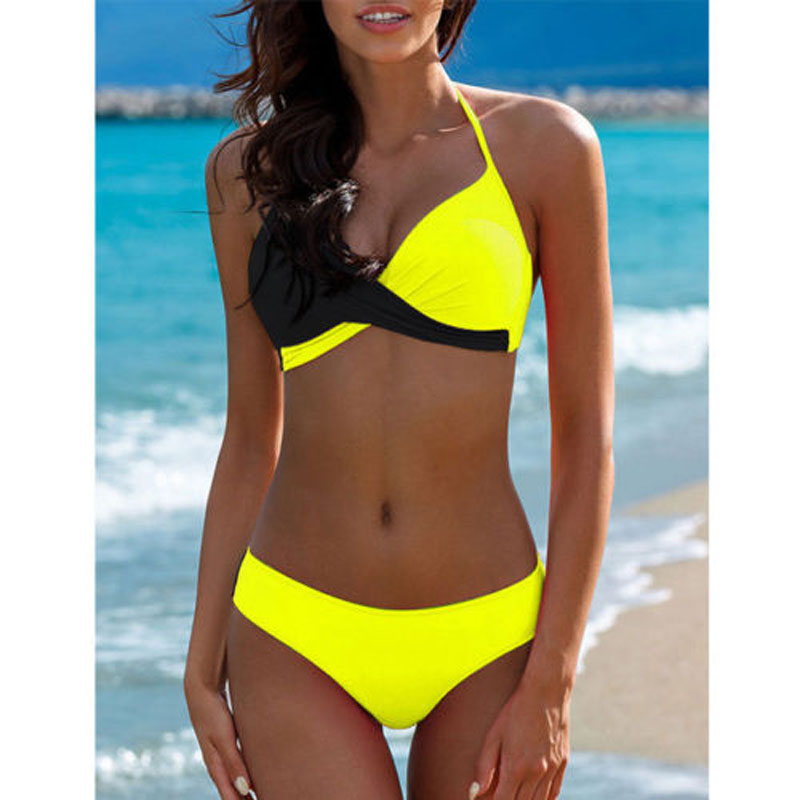 Padded Bra Bikinis 2019 Woman Halter Sexy Swimsuit Push Up Plus Size Swimwear Women Bathers Yellow Micro Bikini Bathing Suit XXL