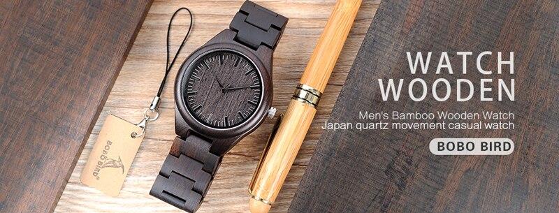 b7595b2b0 بوبو الطيور الطبيعي خشبي أسود رجالي ساعات حزام الخشب ووتش الكوارتز  التناظرية بارد هدايا فاخرة ساعة اليد الذكور ريلوجيو C-H05