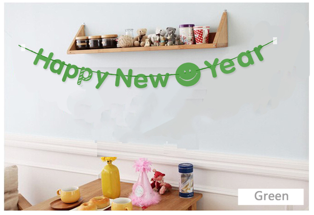 3m green happy new year paper flag banner garland with smily face diy christmas new year