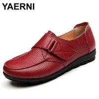 YAERNI Platform Flats Women Leather Summer Breathable Casual Shoes Women Loafers Size Eu 35 41 AA40041