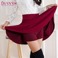 Women Pleated Mini Skirts Cotton Bandage High Waist Anti Emptied Skirts Vintage Casual Knitted Stretch Skirt For Autumn Winter