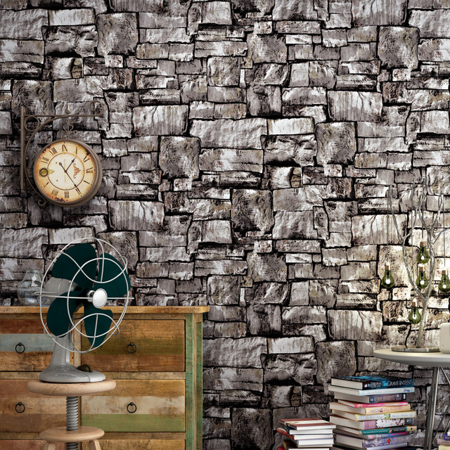 Vintage stone marble wallpaper study bar Cafe creative Brick pattern wall sticker pvc material waterproof wallpaper decoration