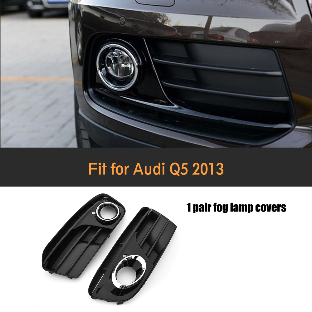 Автомобиля ABS хромированной отделкой полная кольца передний бампер матовый черный нижние боковые туман света решетка для стандартных Ауди Q5 внедорожник 4 двери только в 2013
