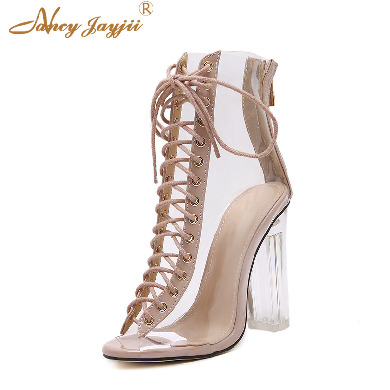 Transparent Clear Ankle Boots Women Spring Summer PVC Black Lace-up Fashion New Designer Dress Hot Peep Toe Zipper High Heel 38