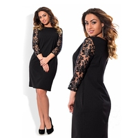 L 6XL 2017 Spring Lace Sleeve Women Dress Red Sexy Club Party Dresses Black Bodycon Dress