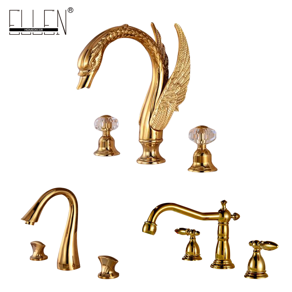 Bathroom Faucet 3 Hole Double Handle Golden Solid Brass Waterfall Basin Sink Mixer Tap Widespread waterfall spout basin sink faucet golden finish bathroom mixer tap solid brass single handle with hole cover plate