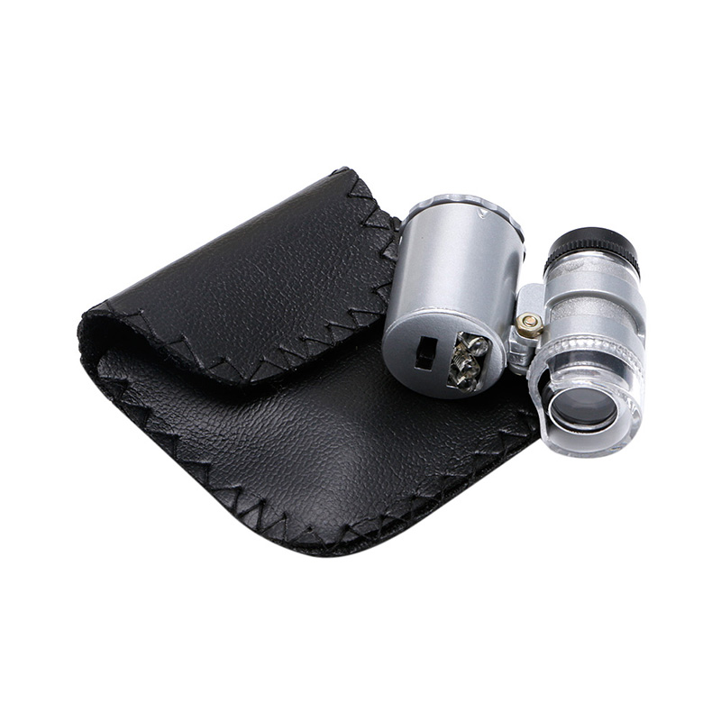 Mini 60X Jewelers Loupe Magnifier Microscope Magnifying w/ LED & UV Light with Money Detect