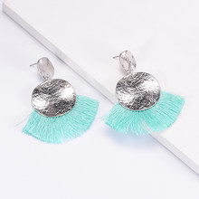 Bohemian Silver Color Double Round Drop Earrings For Women 2018 Statement Jewelry Colorful Big Fan Tassel Earring Party Gifts(China)