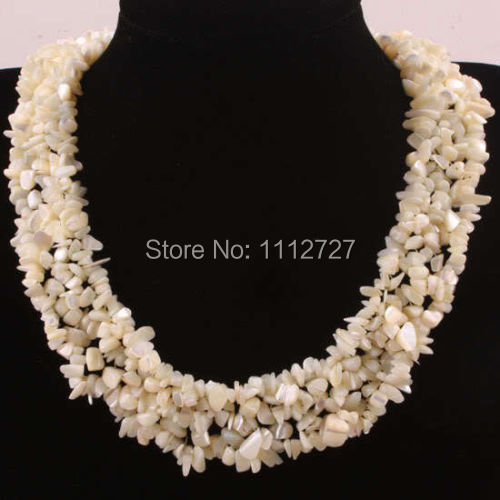 Charming 4X8MM White Mother of Pearl Shell Weave Chip Beads Necklace Strand Women Jewelry Natural Stone 18