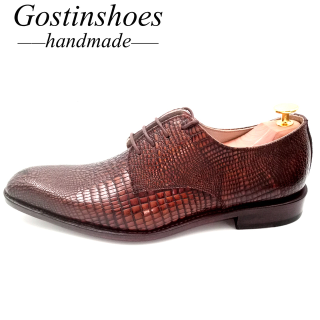 GOSTINSHOES HANDMADE Goodyear Welt Elegant Brown Leather Wedding Office Dress Men Shoes Solid Formal Oxford Pointed Toe GSTN005