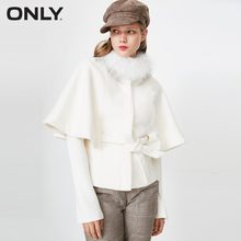 ONLY Women's Winter Batwing Sleeves Cloak Woolen Coat Short Jacket with Scorpion fur and Detachable Belt|11734T501(China)