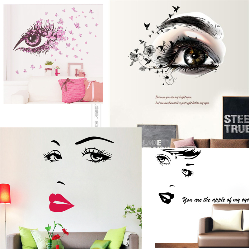 % <font><b>sexy</b></font> girl lip eyes flowers <font><b>wall</b></font> <font><b>stickers</b></font> bedroom decor diy vinyl adesivo de paredes home decals mural art poster home decor image
