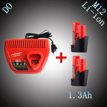 2PCS 1300mAh 12V Rechargeable Lithium Ion Power Tool Battery with Charger Replacement for Milwaukee M12 48-11-2401 48-11-2402