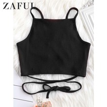 c8de0a6581b7f6 ZAFUL Criss Cross Lattice Ribbed Tank Top Summer Cotton Spaghetti Strap  Solid Color Crop Top Women