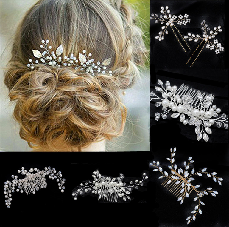 New Wedding Bride Tiaras Crown Headband Hair Comb Clips Hair Accessories Jewelry For Women Pearl Flower Hairband