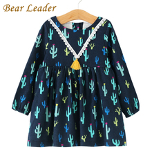 Bear Leader Girls Dress 2017 New Autumn Brand Girls Clothes European and American Style Cactus Printing Design Baby Girls Dress