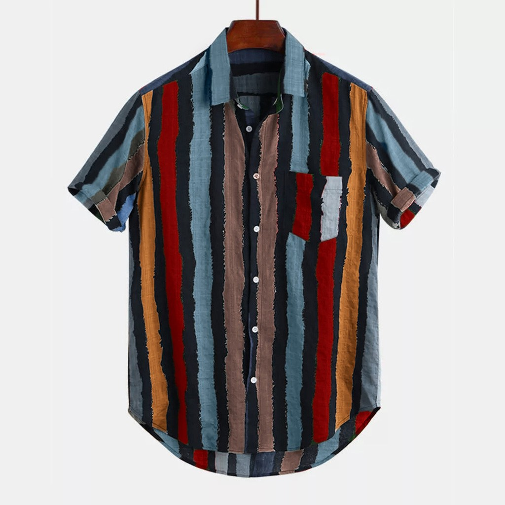 2019 New Fashion High Quality Summer Mens Casual Multi Color Stripe Lump Chest Pocket Short Sleeve Round Hem Loose Shirts Blouse Рубашка