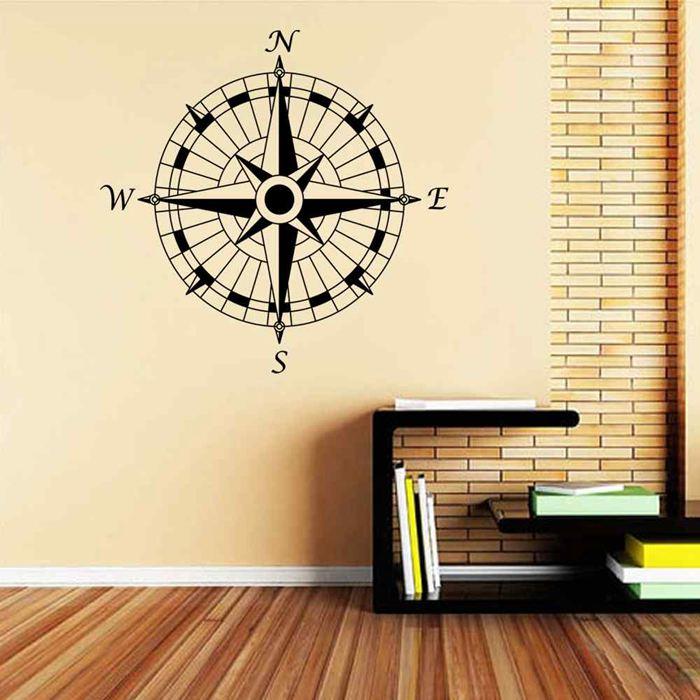 BATTOO Compass Rose Nautical Modern Design Wall Decal Vinyl Art Wall ...