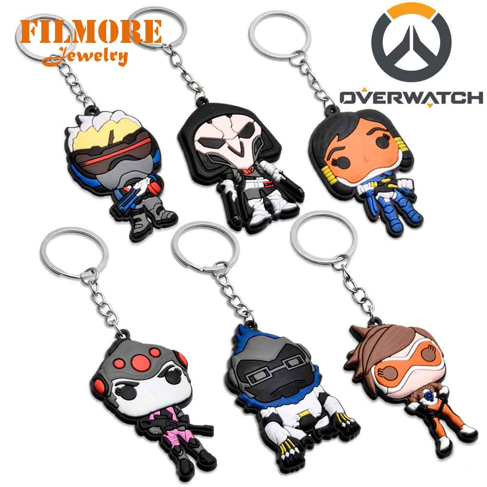Filmore Game Overwatch Hero Reaper Pharah Soldier Tracer 3D Figurine Series Keychain Silicone Keyring Pendant Car Chaveiro Funs