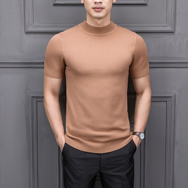 8 Colors Men Half Turtleneck Short Sleeve Pullover Sweater Male Fashion Casual Slim Fit Knitted Weather Tees Shirts