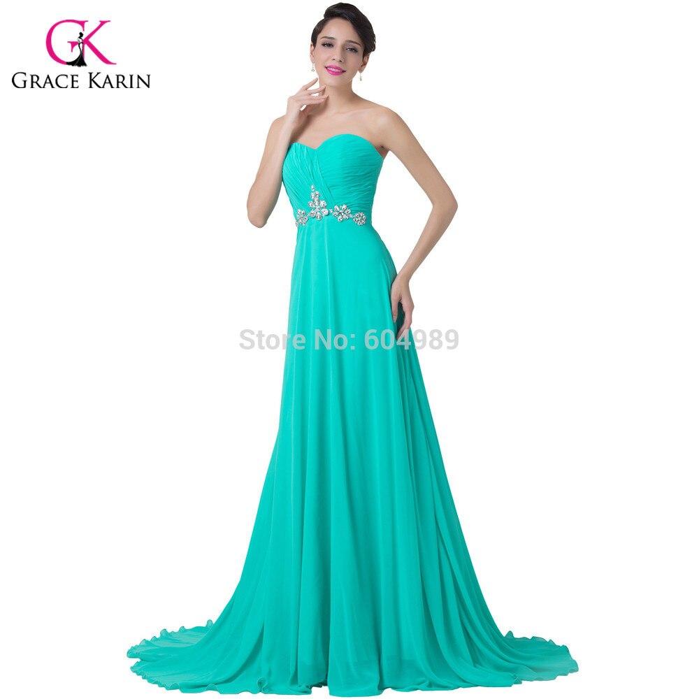 Элегантный бисером вечернее платье 2016 грейс карин бирюзовый милая пром длинные вечерние платья женщины вечерние платья 6290