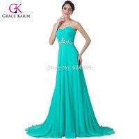 Elegant Grace Karin Turquoise Floor Length Vestidos Longo Sweetheart Prom Beaded Evening Dress Long Formal Gown
