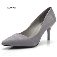 Koovan Women Fashion Sexy High Heels Pointed Pumps 2018 Ladies Single Shoes Flock Woman Shoe Night