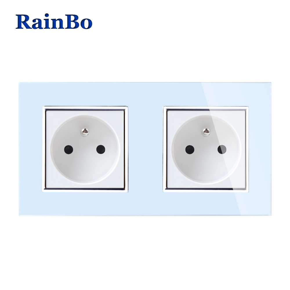купить RainBo Wall France Power Socket Glass Panel AC250V Wall Power Smart Outlet Wall Socket Free Shipping Manufacture A28F8FW/B по цене 949.25 рублей