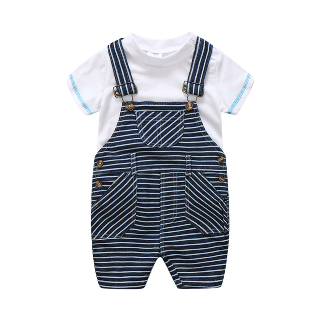 8ffb7eb4cbbb Newborn Baby Girl Boy Striped Bib Suit Clothes Summer High Quality ...
