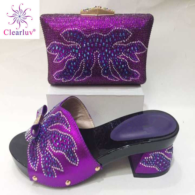 Clearluv 17102916 Shoes and Bag Sets for purple bigger Shoes and Bags To Match  Shoes with Bag Set Decorated with purple color 14111956c445