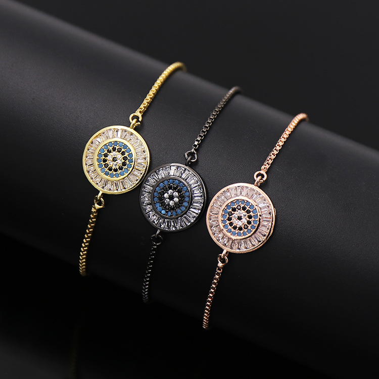 Turkey Hot Sell Strecth Bracelet Exqusite Brass Micro Pave Round Rectange Zircon Flexible Charms Bracelet